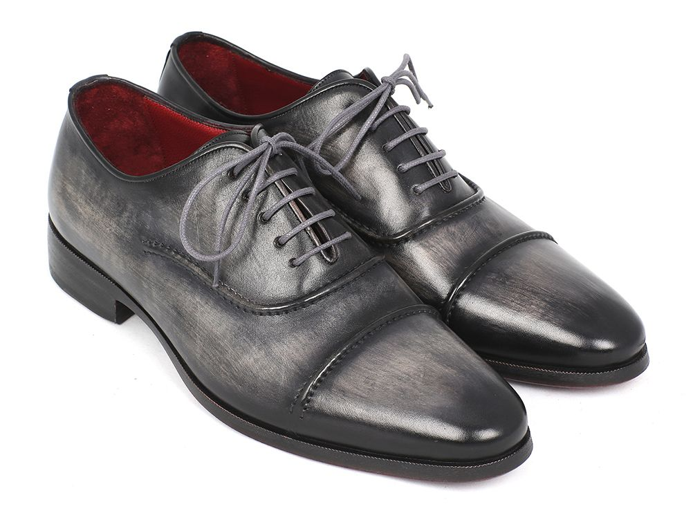 Paul Parkman Men's Captoe Oxfords Gray & Black Shoes (ID#077-GRY) - mroutfit