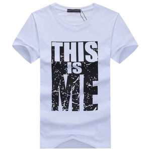 This Is Me Fashion Short-sleeved Round Collar T-shirt Leisure Simple Letter Printing Tops T-shirt - mroutfit