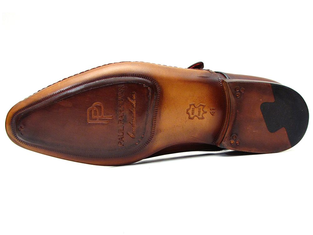 Paul Parkman Men's Single Monkstraps Brown Leather (ID#69V5E) - mroutfit