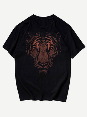 Men Tiger Face Print Tee - mroutfit