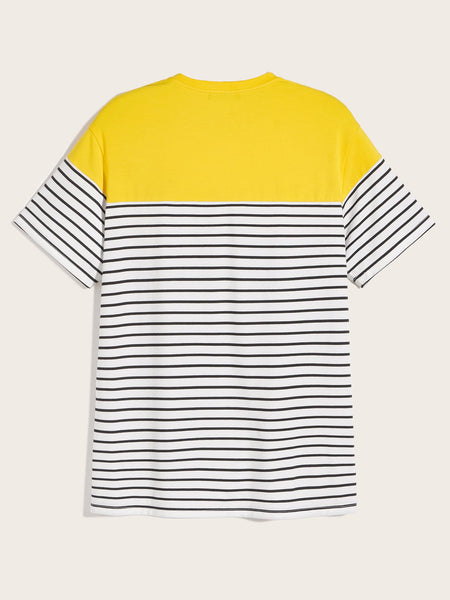 Men Color-block Striped Tee - mroutfit