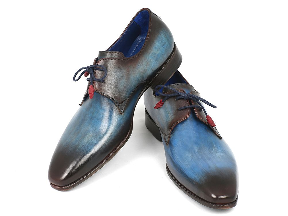 Paul Parkman Men's Blue & Brown  Derby Shoes (ID#326-BLU) - mroutfit