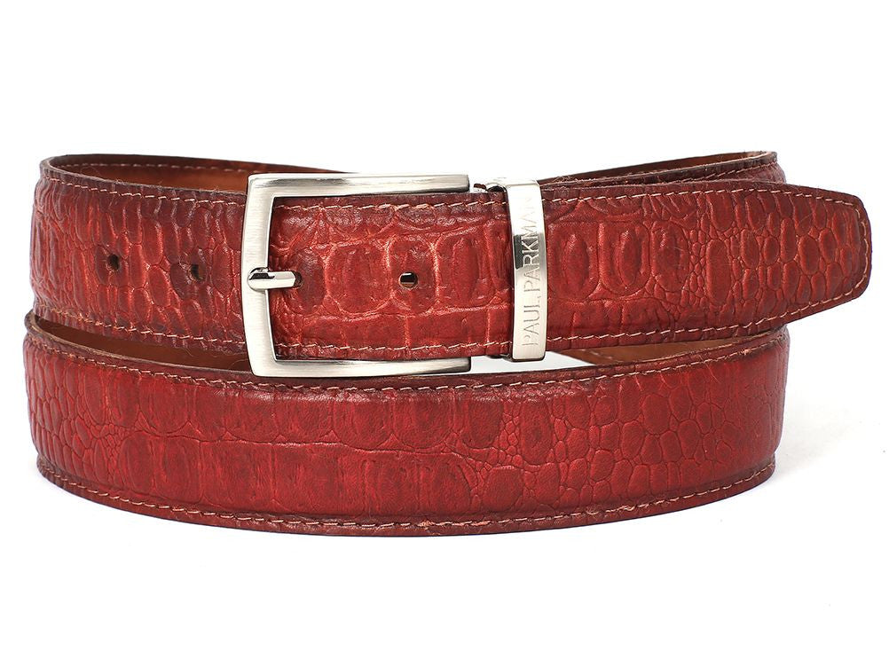 PAUL PARKMAN Men's Croc Embossed Calfskin Belt Reddish (ID#B02-RDH) - mroutfit