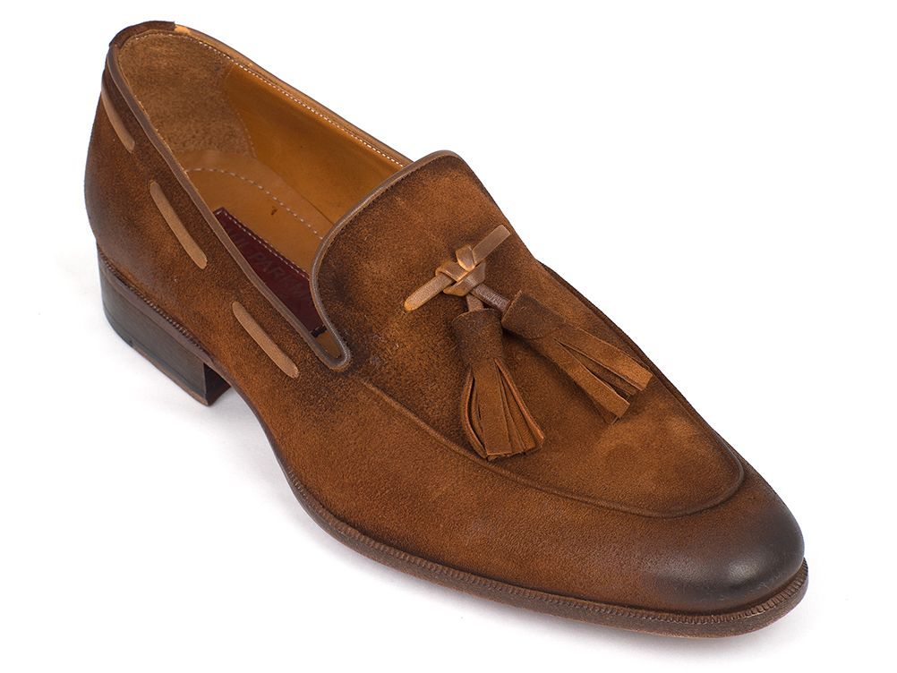 Paul Parkman Men's Tassel Loafer Brown Antique Suede Shoes (ID#TAB32FG) - mroutfit