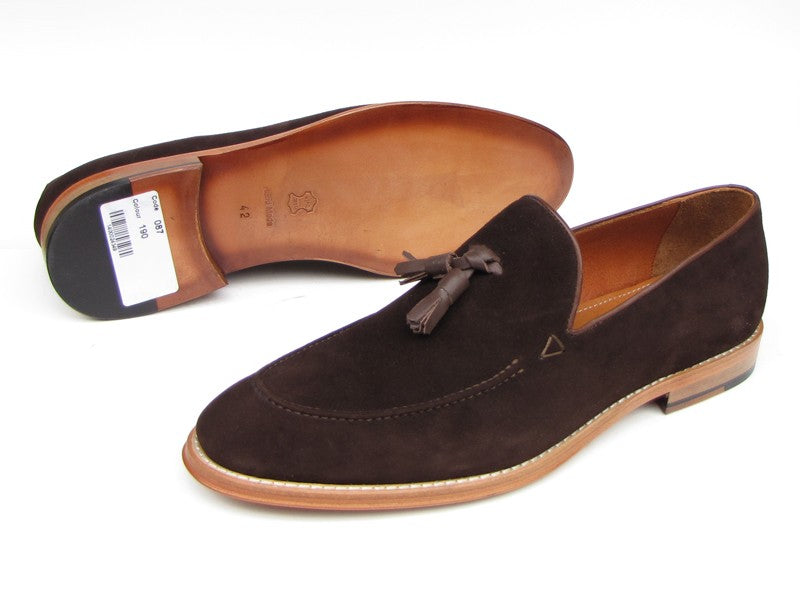 Paul Parkman Men's Tassel Loafer Brown Suede Shoes (ID#087-BRW) - mroutfit