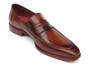 Paul Parkman Men's Penny Loafer Tobacco & Bordeaux  Shoes (ID#067-BRD) - mroutfit