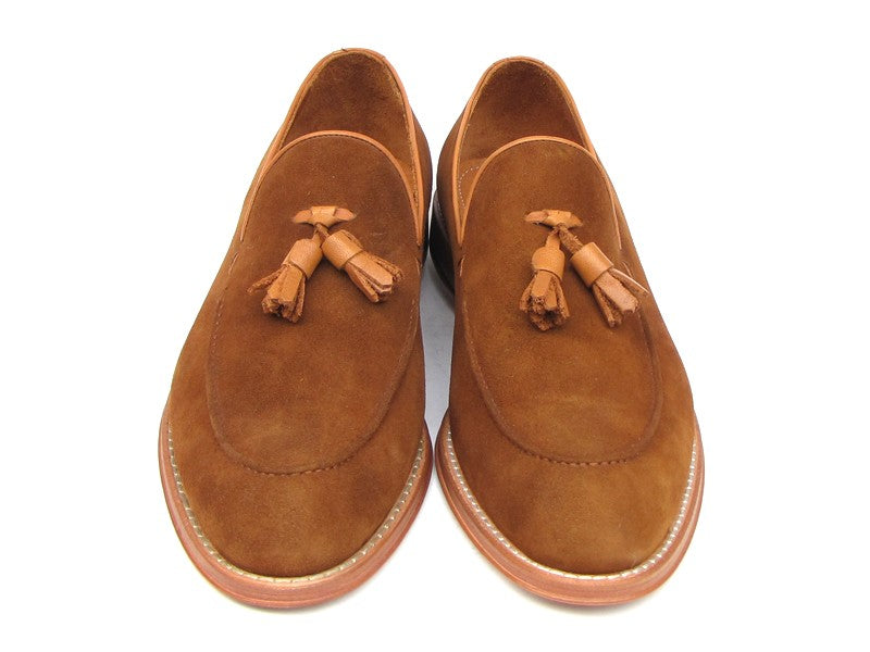 Paul Parkman Men's Tassel Loafer Tobacco Suede Shoes (ID#087-TAB) - mroutfit