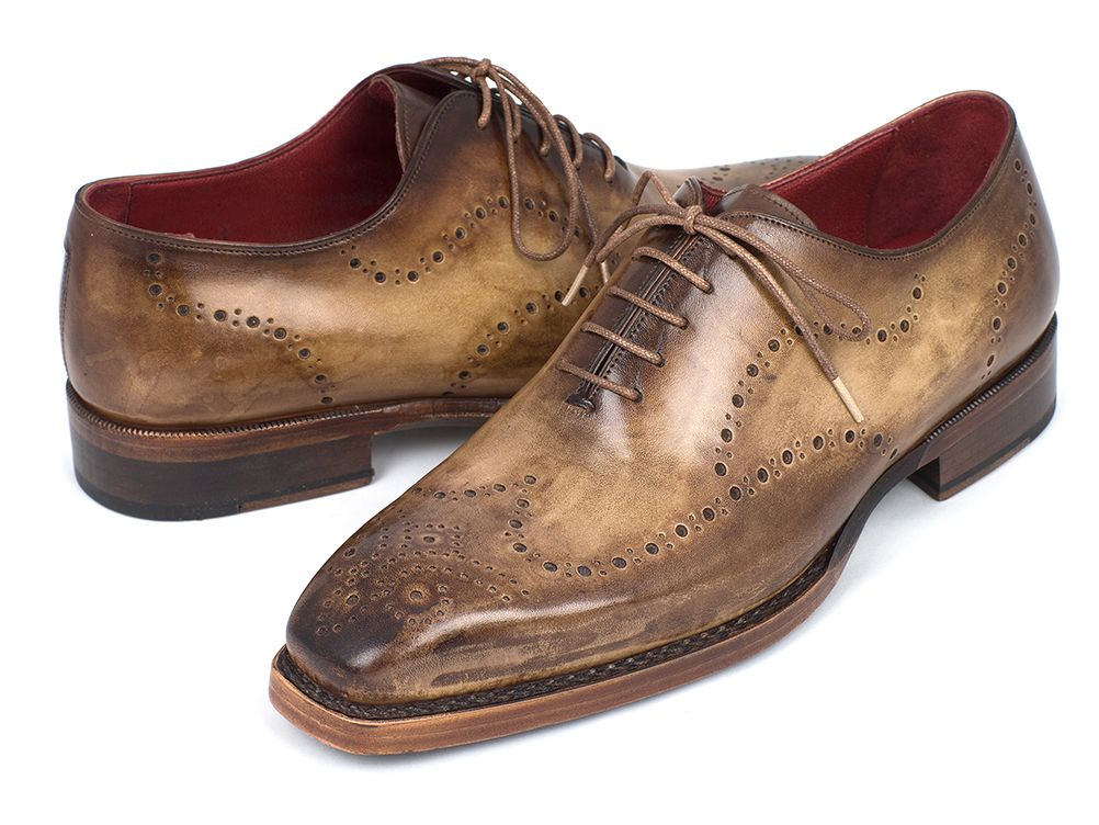 Paul Parkman Goodyear Welted Men's Wingtip Oxfords Antique Olive (ID#87OLV54) - mroutfit