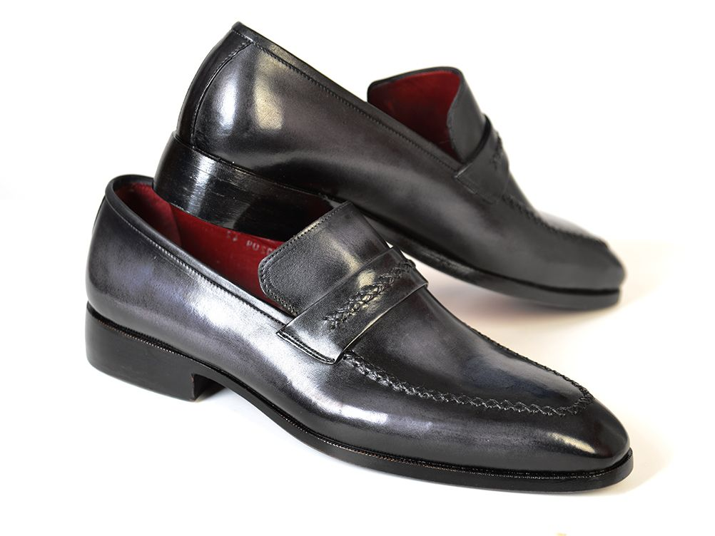 Paul Parkman Gray & Black Men's Loafers For Men (ID#068-GRAY) - mroutfit