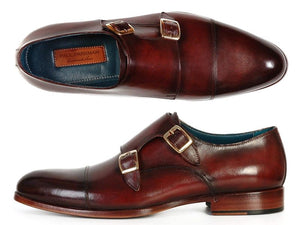 Paul Parkman Men's Cap-Toe Double Monkstraps Brol Dark Brown (ID#045-BRL) - mroutfit