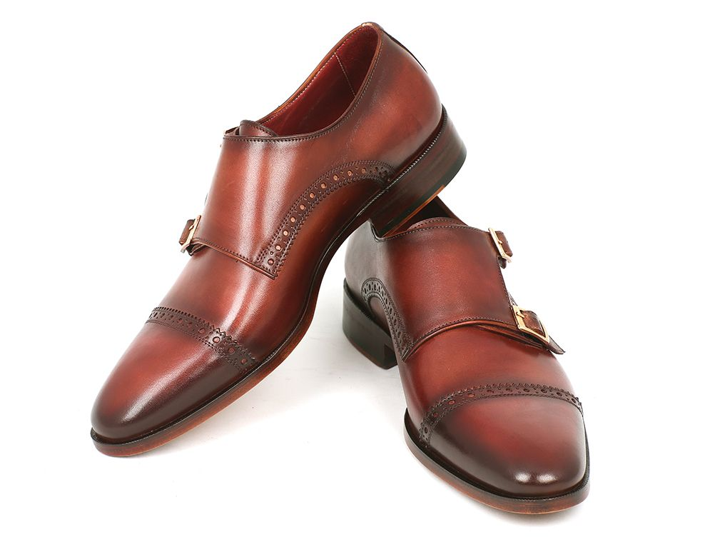 Paul Parkman Men's Cap-Toe Double Monkstraps Camel & Light Brown (ID#0457-CML) - mroutfit