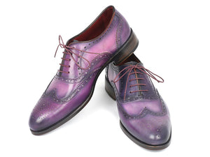 Paul Parkman Men's Wingtip Oxfords Purple & Navy Handpainted Calfskin (ID#743-PURP) - mroutfit