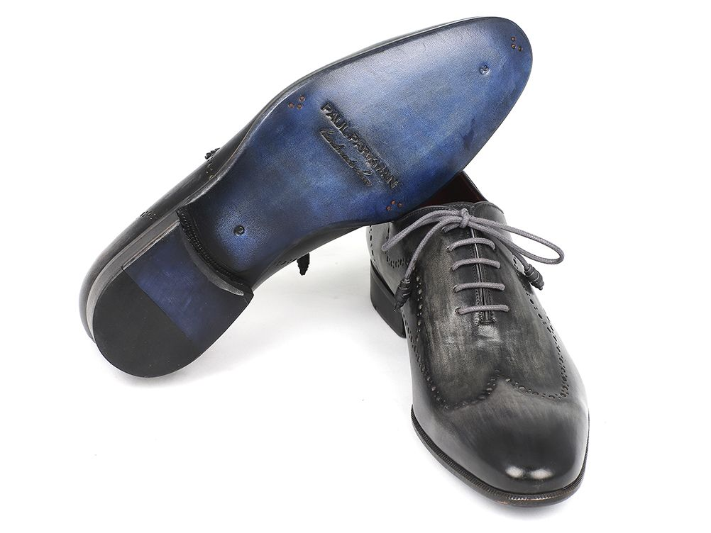 Paul Parkman Wintip Oxfords Gray & Black Handpainted Calfskin (ID#741-GRY) - mroutfit