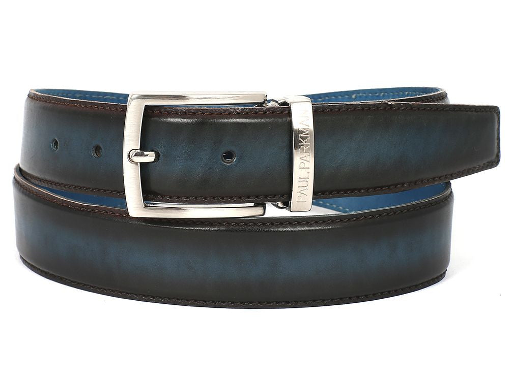 PAUL PARKMAN Men's Leather Belt Dual Tone Brown & Blue (ID#B01-BRW-BLU) - mroutfit