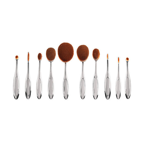 cheap affordable makeup beauty cosmetic brush set kit metallic oval