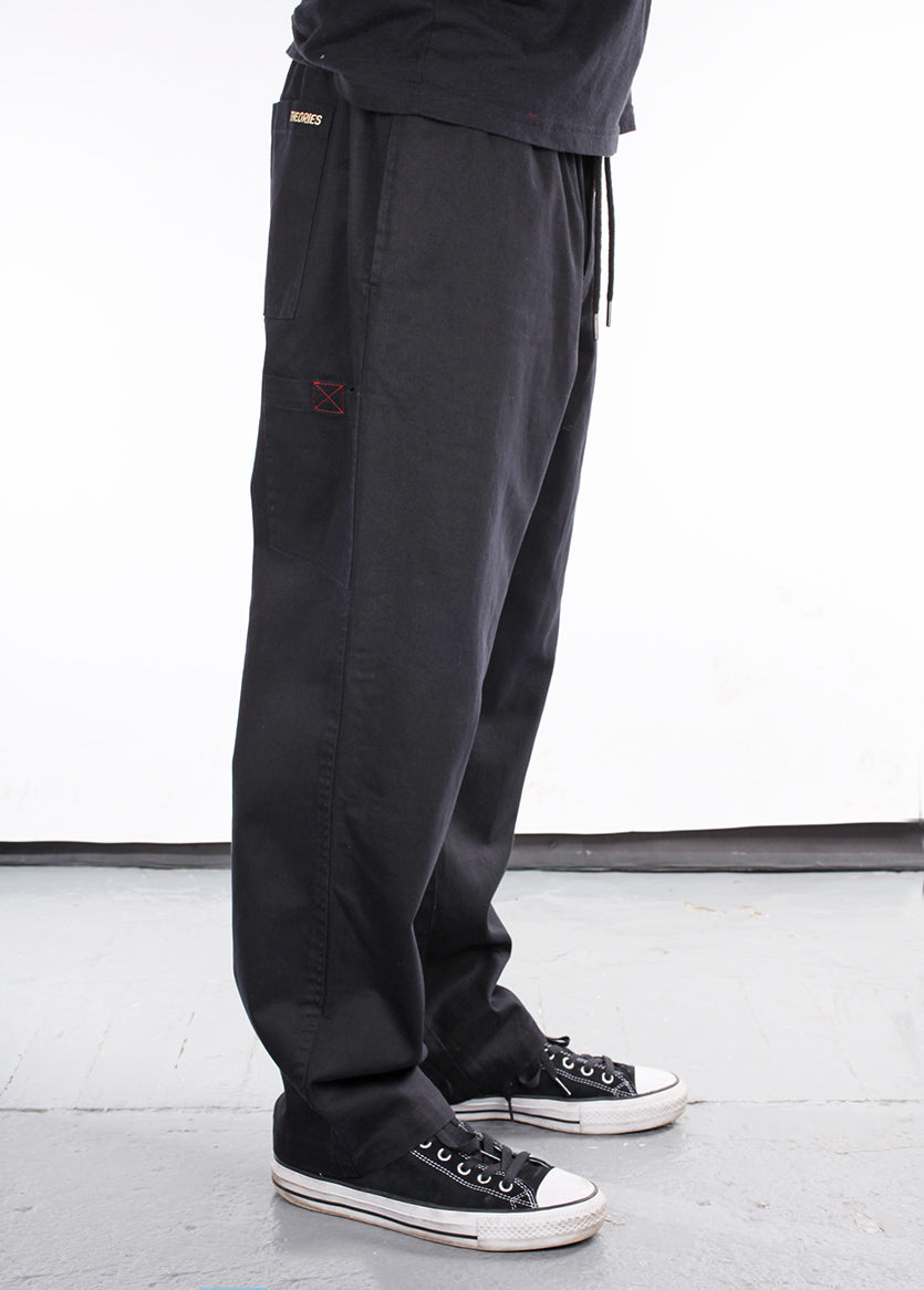 Theories Stamp Lounge Pant Black Side