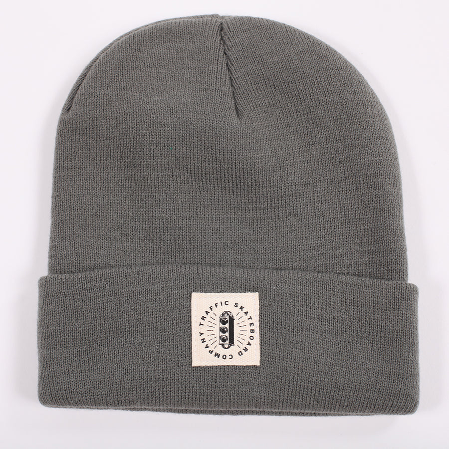Traffic Skateboards Burst Label Acrylic Beanie grey