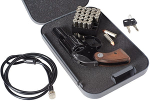 Keyed Lock Box, Portable Steel Handgun Safe & Case