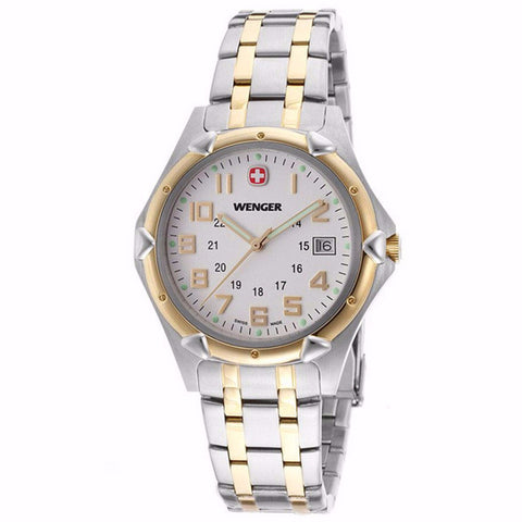 WENGER WHITE DIAL DATE SAPPHIRE CRYSTAL TWO-TONE MEN'S WATCH 73117 - BrandNamesWatch.com