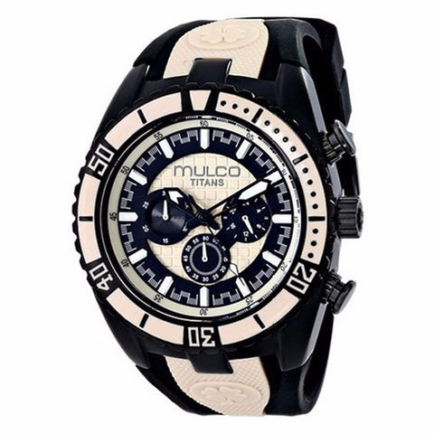MULCO Titans Wave Chronograph Black and Beige Dial Black Silicone Unisex Watch MW5-1836-115 - BrandNamesWatch.com