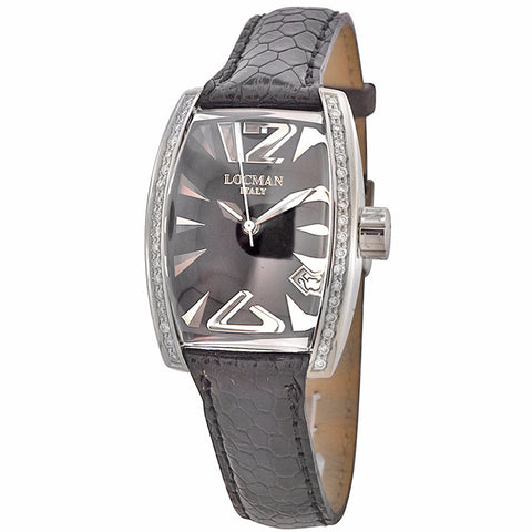 Locman Panorama Men's Watch Black Ostrich Band Automatic Date Watch - BrandNamesWatch.com