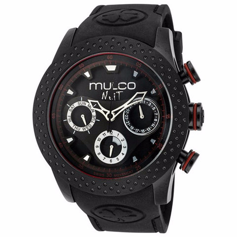 MULCO Nuit Mia Multi-Function Black Dial Black Silicone Unisex Watch MW5-1962-261 - BrandNamesWatch.com