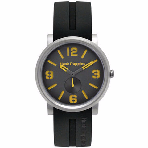 HUSH PUPPIES MEN'S BLACK ORANGE DIAL SILICON STRAP  WATCH HP.3670M.9518 - BrandNamesWatch.com