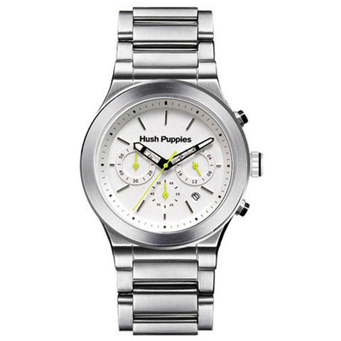 HUSH PUPPIES MEN'S WHITE DIAL STAINLESS STEEL CHRONOGRAPH WATCH HP.6057M.1501 - BrandNamesWatch.com