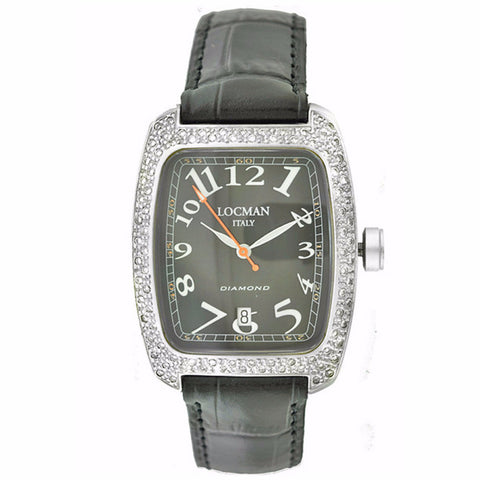 Locman Diamond Tonneau Mother of Pearl Dial Black Leather Strap Ladies Watch - BrandNamesWatch.com