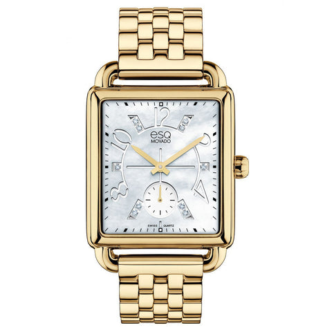ESQ MOVADO WOMEN'S GOLD PLATED STEEL CASE BRACLET WHITE DIAMOND ACCENTS MOTHER OF PEARL DIAL WATCH 07101415 - BrandNamesWatch.com