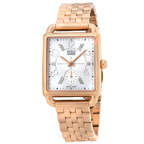 ESQ MOVADO WOMEN'S GOLD ION-PLATED STEEL CASE BRACLET WHITE DIAMOND ACCENTS WATCH 07101416 - BrandNamesWatch.com