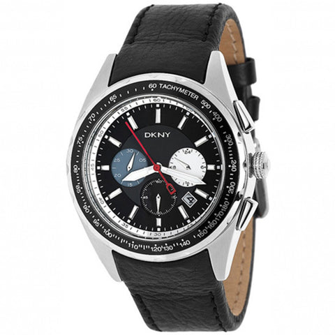 Chronograph Black Dial Black Leather Men's Watch NY1488 - BrandNamesWatch.com