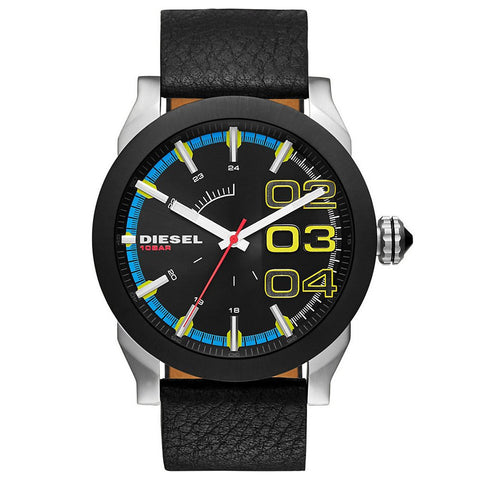 Double Down Black Dial Leather Men's Watch DZ1677 - BrandNamesWatch.com