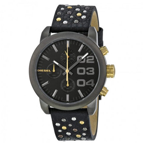 DIESEL Flare Chronograpg Grey Dial Black Leather Unisex Watch DZ5432 - BrandNamesWatch.com