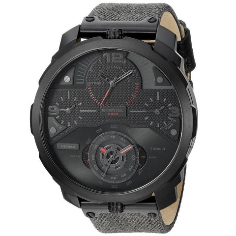DIESEL Machinus 4 Timezone Dial Black Fabric Strap Men's Watch DZ7358