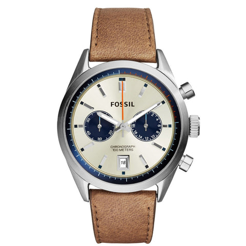 Fossil CH2952 DEL REY CHRONOGRAPH TAN LEATHER WATCH - BrandNamesWatch.com