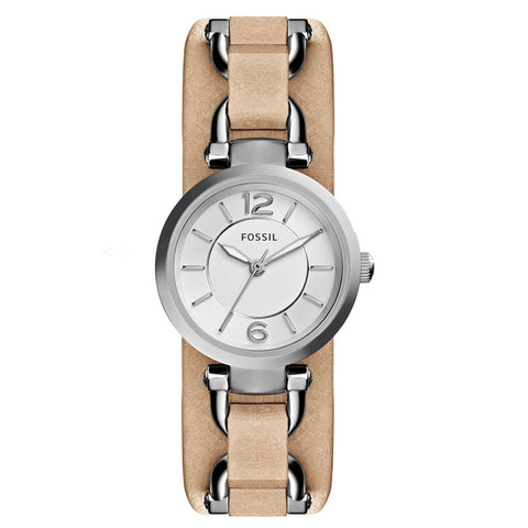 Fossil ES3854 Georgia Artisan White Dial Sand Leather Quatz Ladies Watch - BrandNamesWatch.com