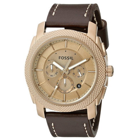 Fossil Machine Chronograph Brown Leather Men's Watch FS-FS5075 - BrandNamesWatch.com