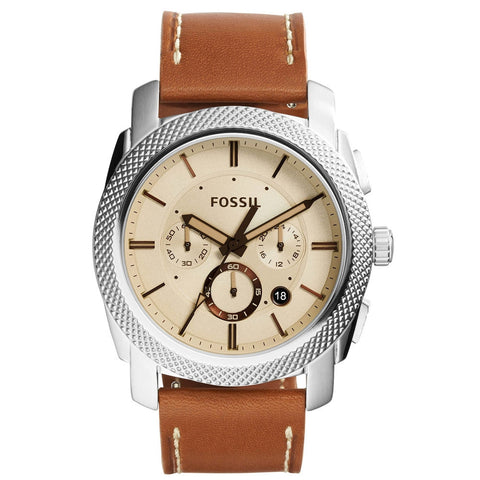Fossil FS5131 Machine Beige Dial Brown Leather Chronograph Men's Watch - BrandNamesWatch.com