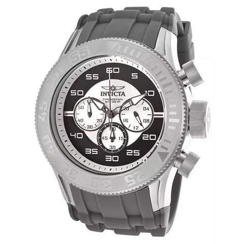 INVICTA Pro Diver XL Chronograph Black and White Dial Silicone Strap Men's Watch - BrandNamesWatch.com