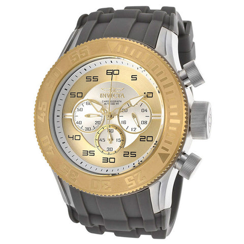 INVICTA Pro Diver XL Chronograph Gold and Silver Dial Silicone Strap Men's Watch - BrandNamesWatch.com