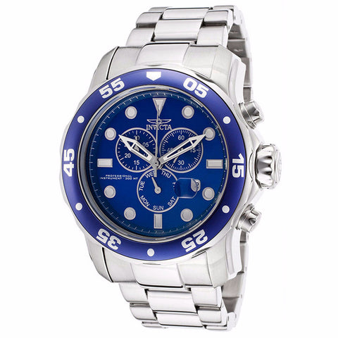 INVICTA MEN'S PRO DIVER ANALOG DISPLAY BLUE DIAL STAINLESS STEEL CHRONOGRAPH WATCH  15082 - BrandNamesWatch.com