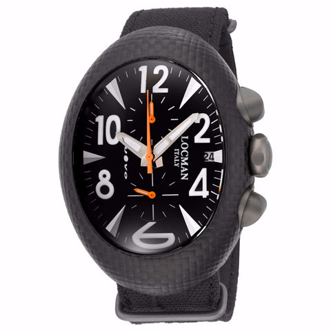 Locman Nuovo Carbonio Black Dial Black Cordura Fabric Men's Watch - BrandNamesWatch.com