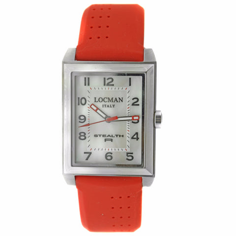 Locman Stealth R white Dial Red Rubber Men's Watch - BrandNamesWatch.com