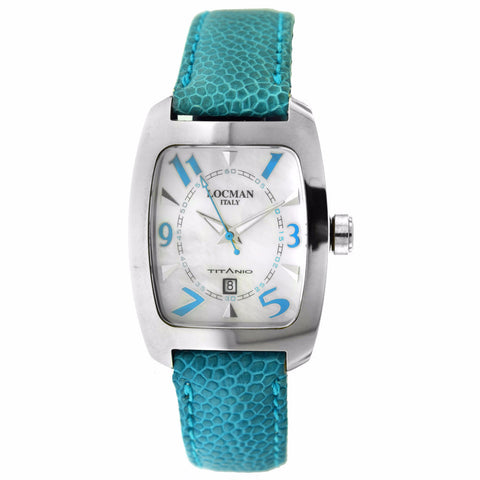 Women's Locman Titanio Case Blue Leather Silver Tone Date Watch - BrandNamesWatch.com