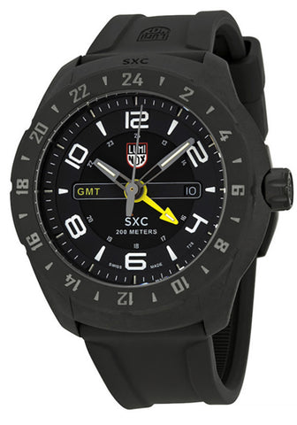 Luminox Men's A.5021.GN PC Carbon GMT Analog Display Analog Quartz Black Watch yellow hands