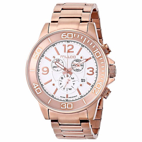 MULCO White Dial Chronograph Gold Tone Stainless Steel Unisex Watch MW4-90147-331 - BrandNamesWatch.com