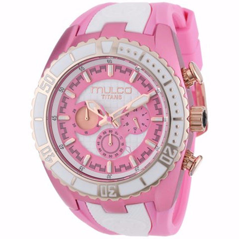 MULCO Titans Wave Chronograph Pink and White Dial Woman Watch WATCH - BrandNamesWatch.com