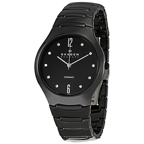 SKAGEN Black Ceramic Swarovski Crystal Ladies Watch 817SBXBC - BrandNamesWatch.com