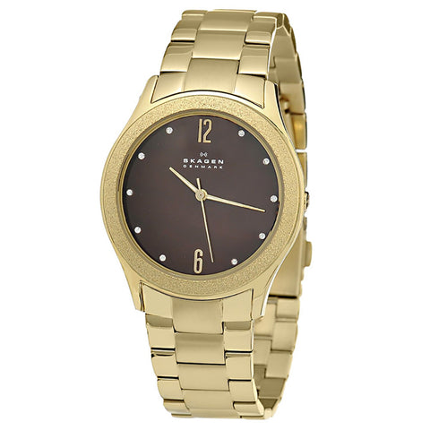 SKAGEN Brown Dial Gold-tone Ladies Watch SKW2108 - BrandNamesWatch.com